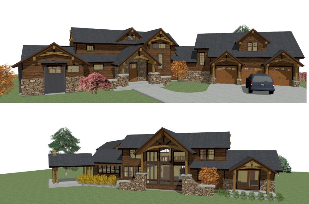 Modern mountain rustic home with timber framed accents and cooperating materials.