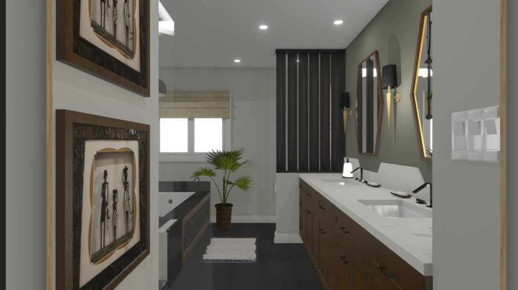 A bathroom design that incorporates clean lines, uncluttered counter spaces and geometric shapes with African inspired artwork.