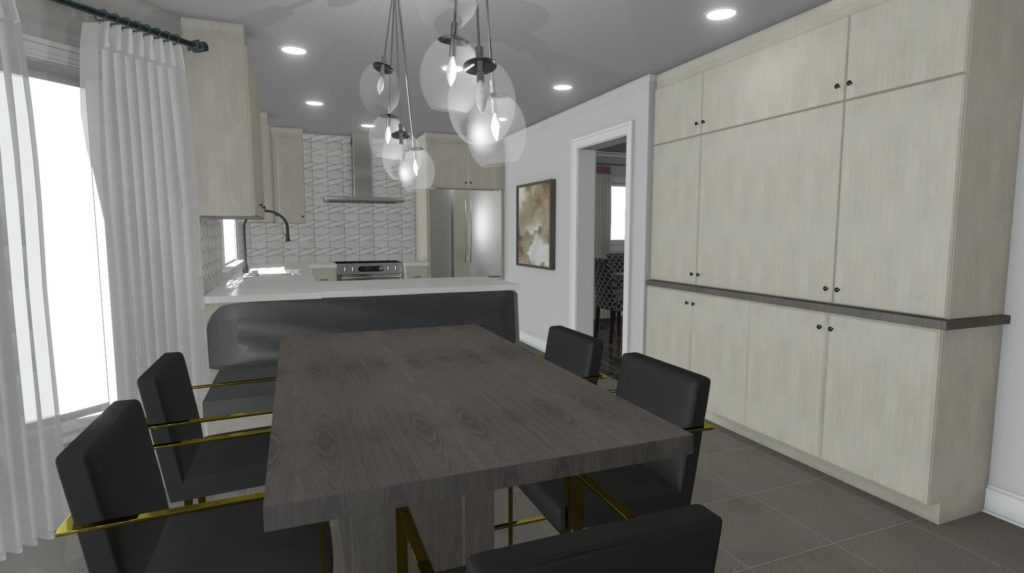 Open concept kitchen and dining room with a modern feel.