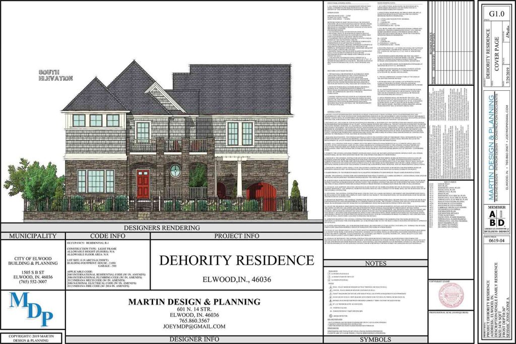 Cover of Plan Set for the New England Coastal style home with stonework and shake siding.