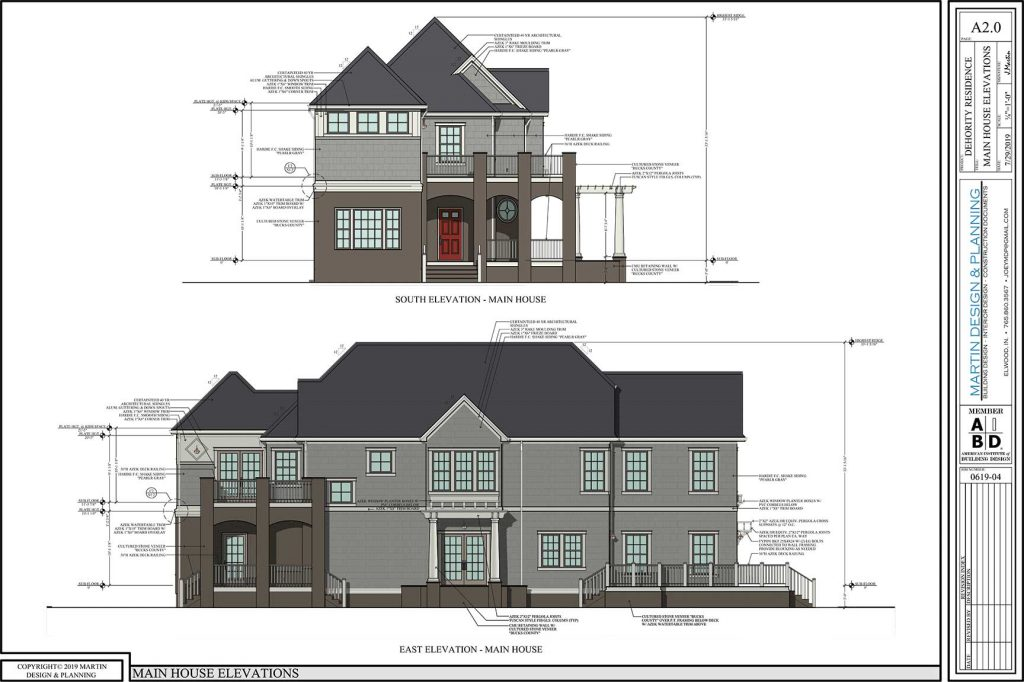 Main house elevations for the New England Coastal style home.