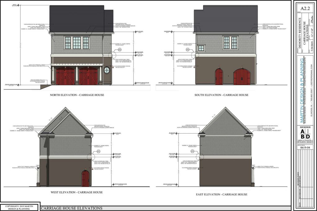 Carriage house elevations for the New England Coastal style home.