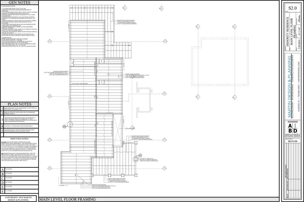 Main level floor framing plan for the New England Coastal style home.