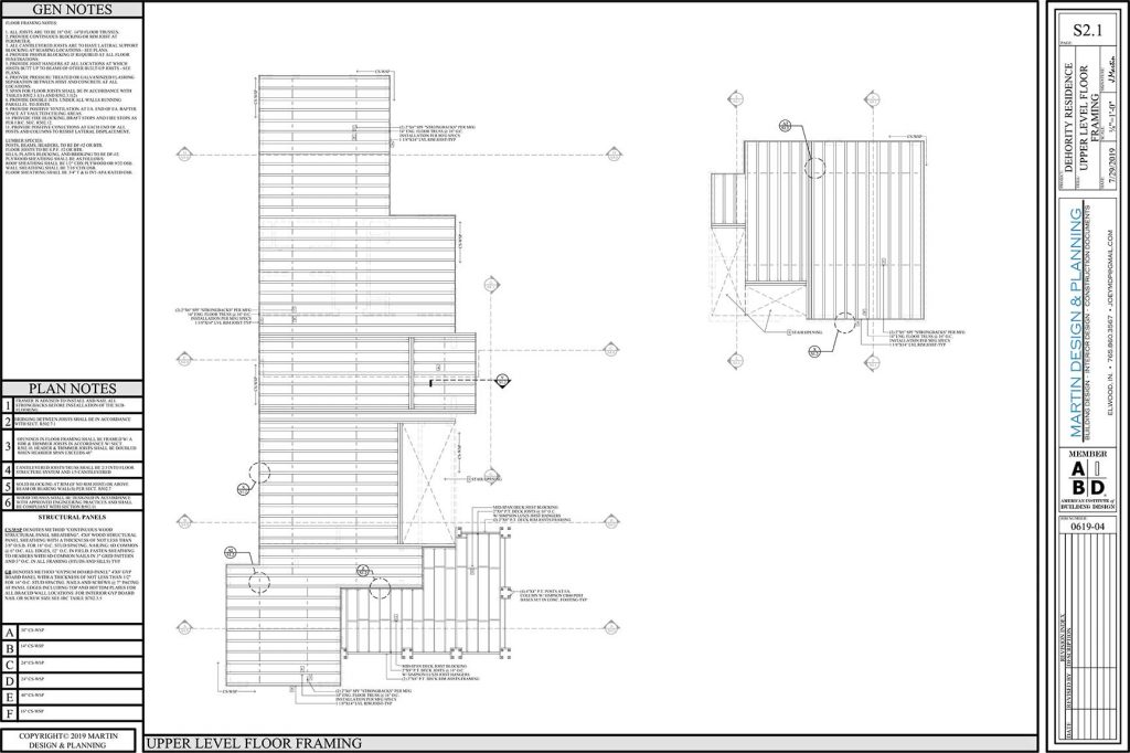 Upper level floor framing plan for the New England Coastal style home.