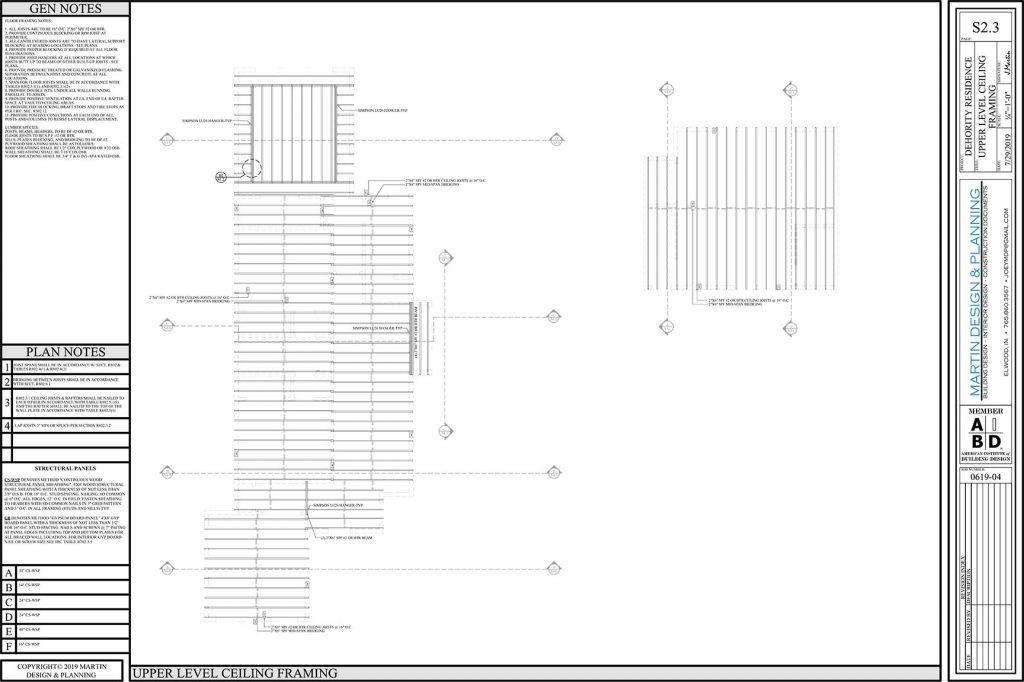 Upper level ceiling framing plan for the New England Coastal style home.