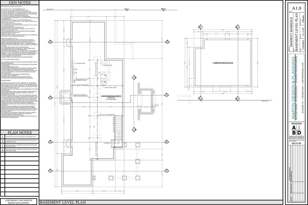 Basement level plan for the New England Coastal style home.