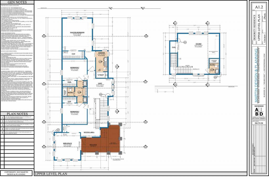 Upper level plan for the New England Coastal style home.
