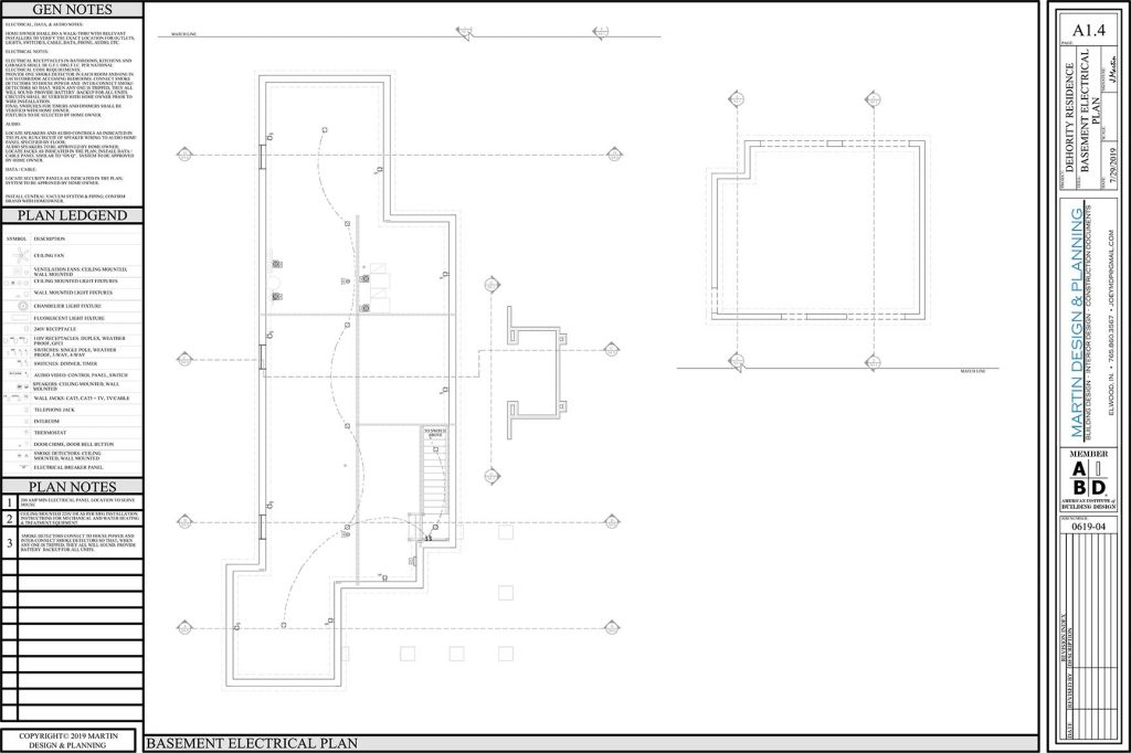 Basement electrical plan for the New England Coastal style home.