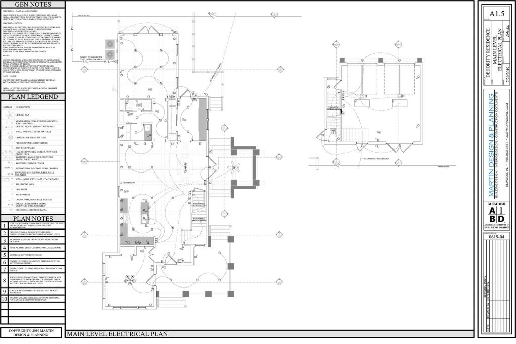 Main level electrical plan for the New England Coastal style home.