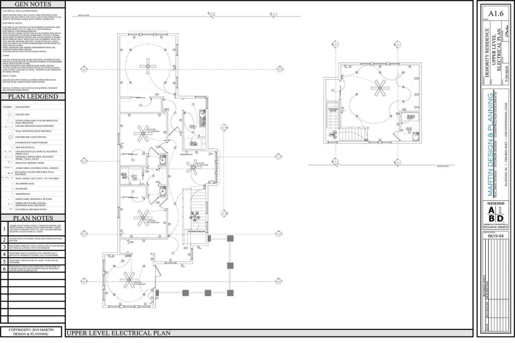 Upper level electrical plan for the New England Coastal style home.