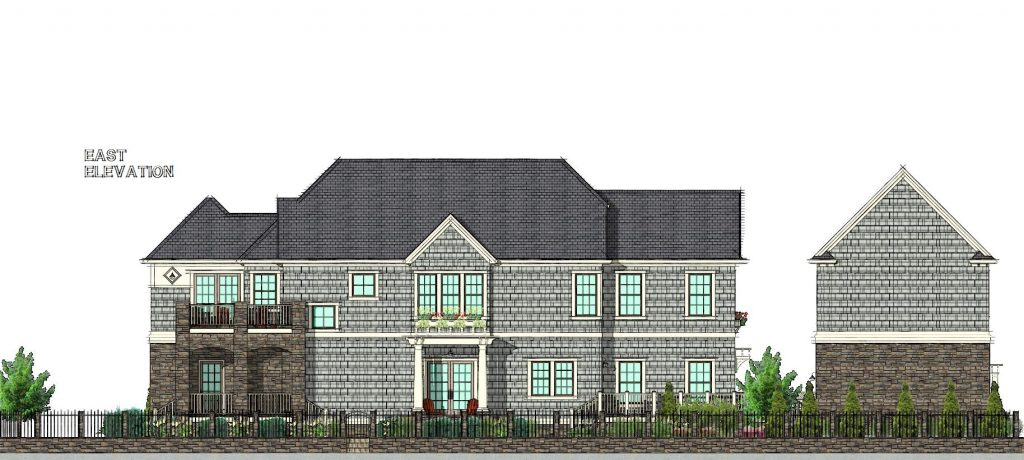 East Elevation of the New England Style Home that won 2nd place in the Chief Architect residential Design Contest.