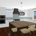 Kitchen design with white cabinets and a butcher block island.