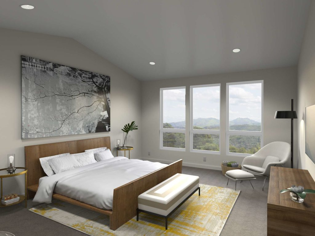 Tranquil bedroom with natural wood elements and lots of light.