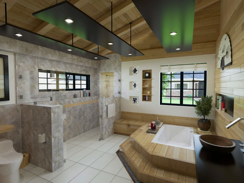 An Asian inspired bathroom design with large walk in shower, modern bathtub in a platform tub deck and elegant vessel sink and fixtures.
