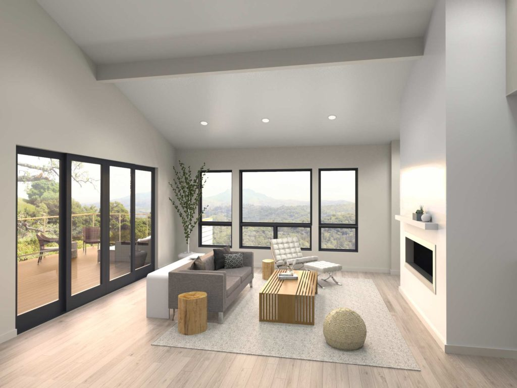 Minimalist living room at sunset with vaulted ceiling, large windows, and clean design.