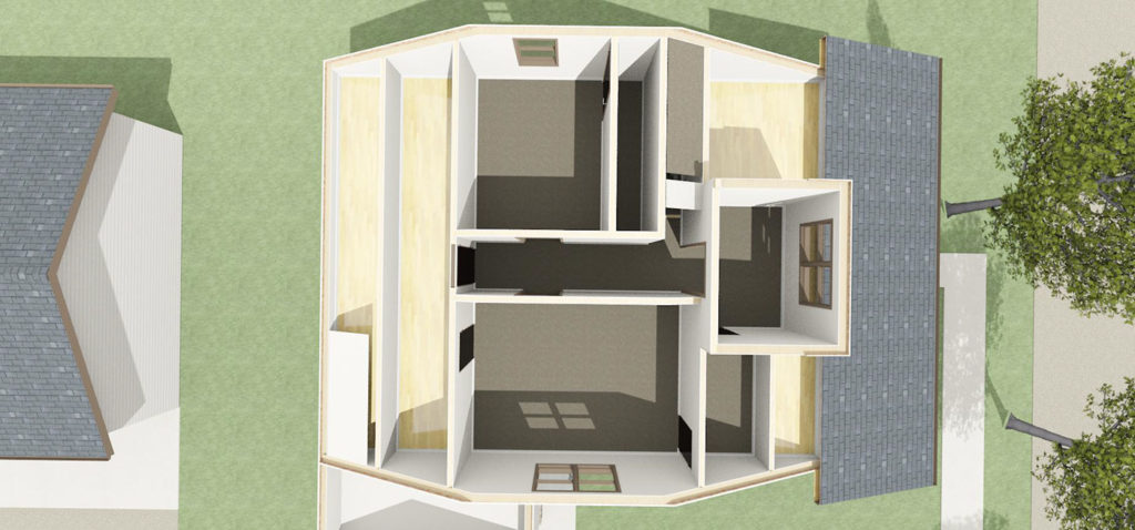 doll house render of second story