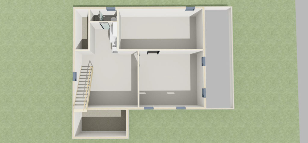 3d render of basement overview