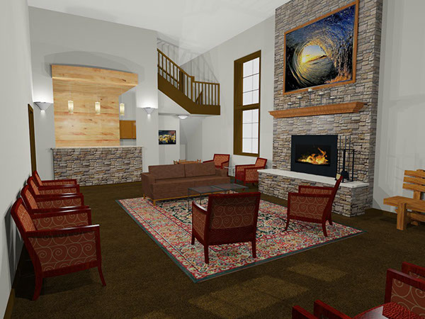 Rustic lobby with brick fireplace  and tall ceilings