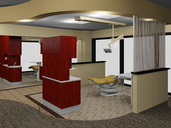 Dental show room with mahogany cabinets