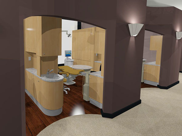 Dental Exam rooms with modern cabinets and purple walls