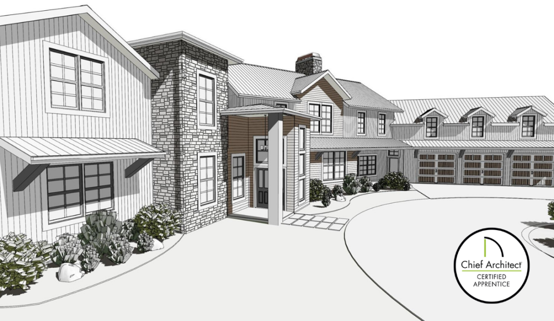 Technical Illustration rendering of a two story rancher-style house with a large entryway.