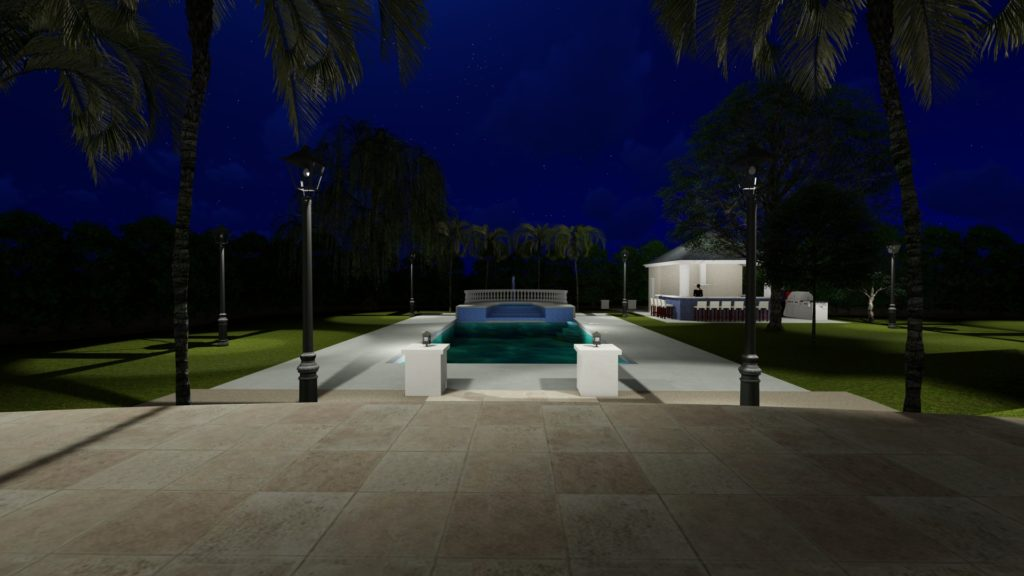 Night time pool render