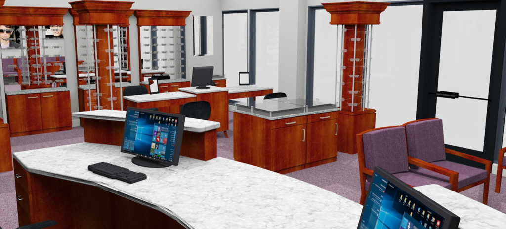 Ophthalmology office with mahogany cabinets
