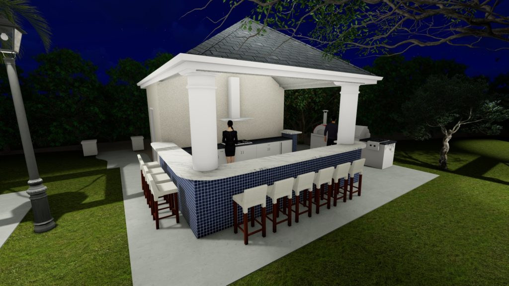 Pool house with wrap around seating