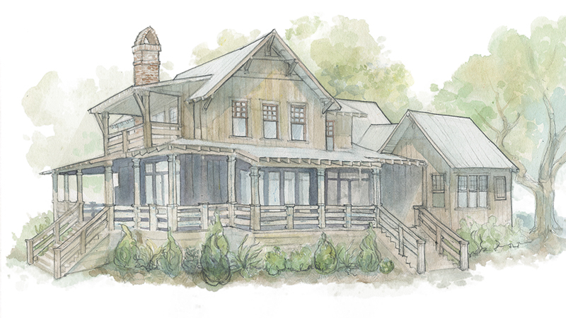 Walnut Cottage water color rendering