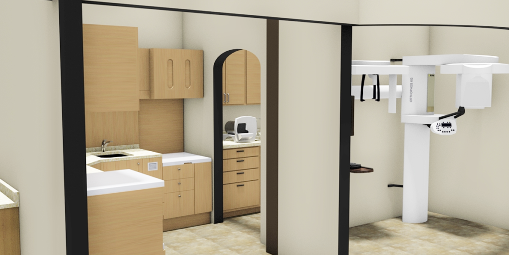 3D Render of Optometry office.