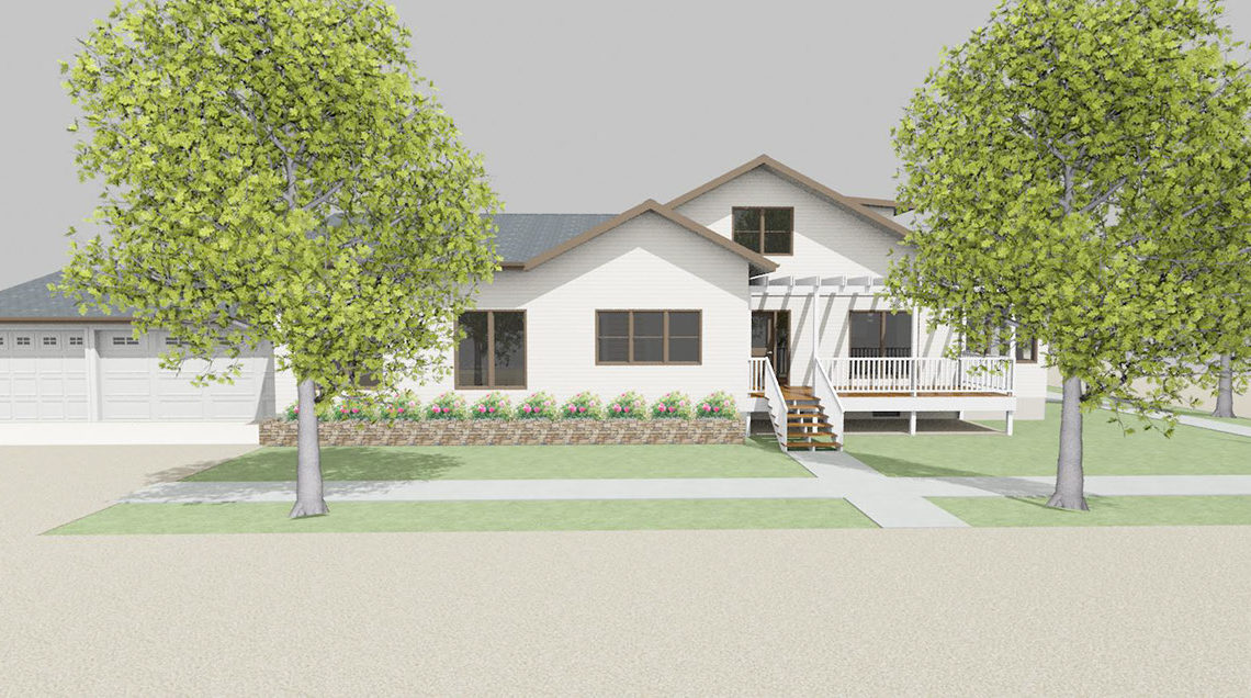 White, ranch style house with gable roofs and two large trees