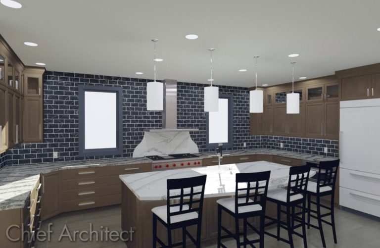 Galley kitchen with custom backsplash and pendant lights