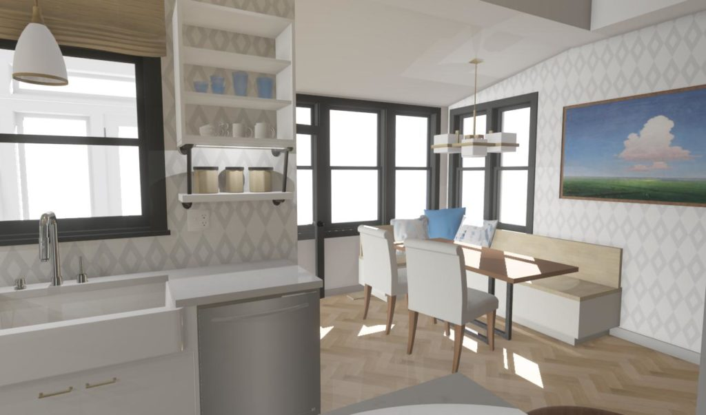 condo kitchen with open shelving and breakfast nook