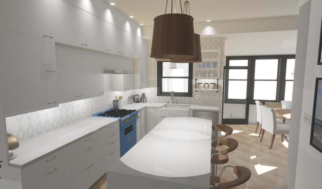 modern white kitchen with large waterfall island