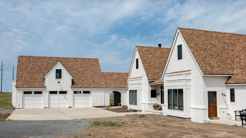 Modern farmhouse with copper accents