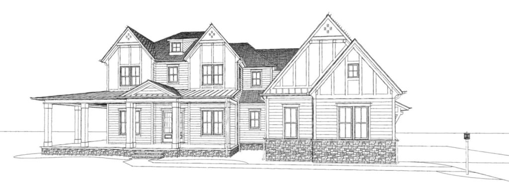 Farmhouse style line drawing with brick veneer and wraparound porch.