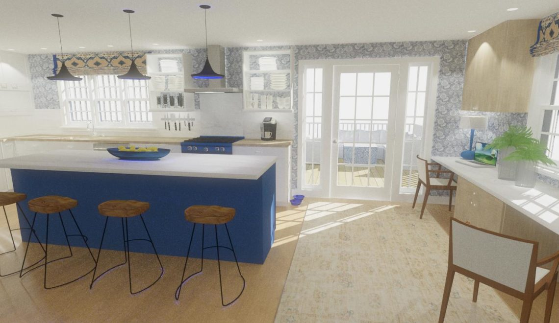 Open concept kitchen with large blue island, white cabinets, and wood countertops.