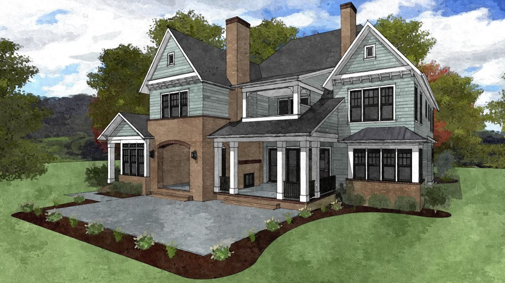 Watercolor rendering of homes backyard perspective with covered porch and brick facade