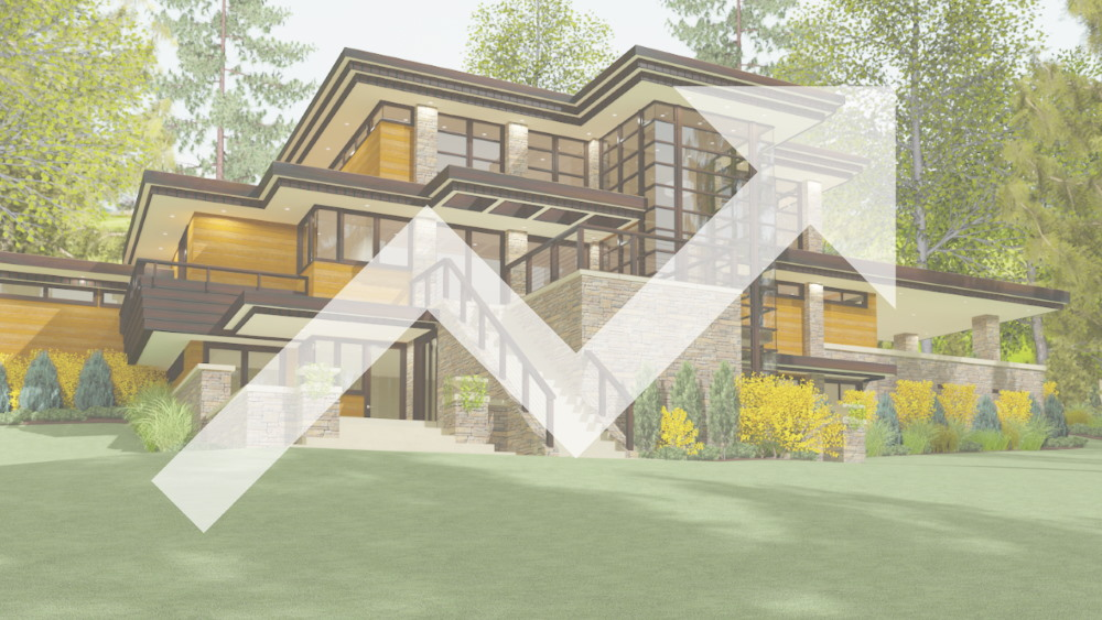Clerestory house design with an increasing arrow overlaid on it.