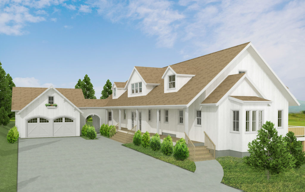 Render of modern, white farmhouse in Chief Architect