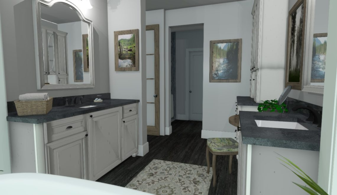 Master Bathroom with hardwood flooring and grey marble counter tops