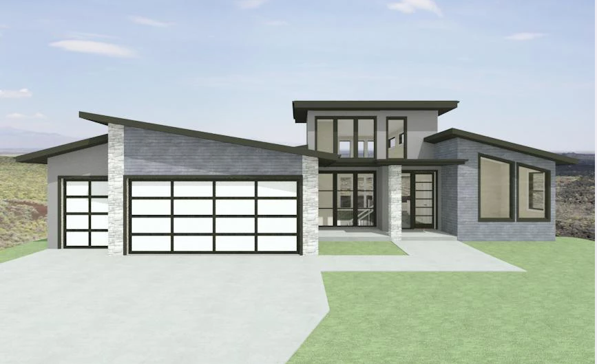 Grey modern house with shed roof over garage.