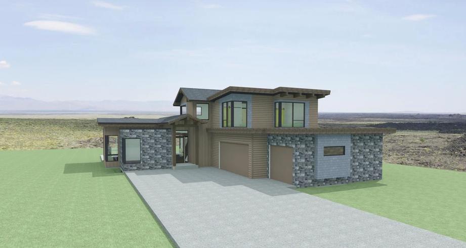 Rendering of a modern prairie style home in Kamloops British Columbia.