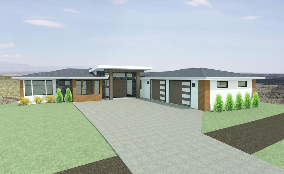 modern L shaped home with attached two car garage