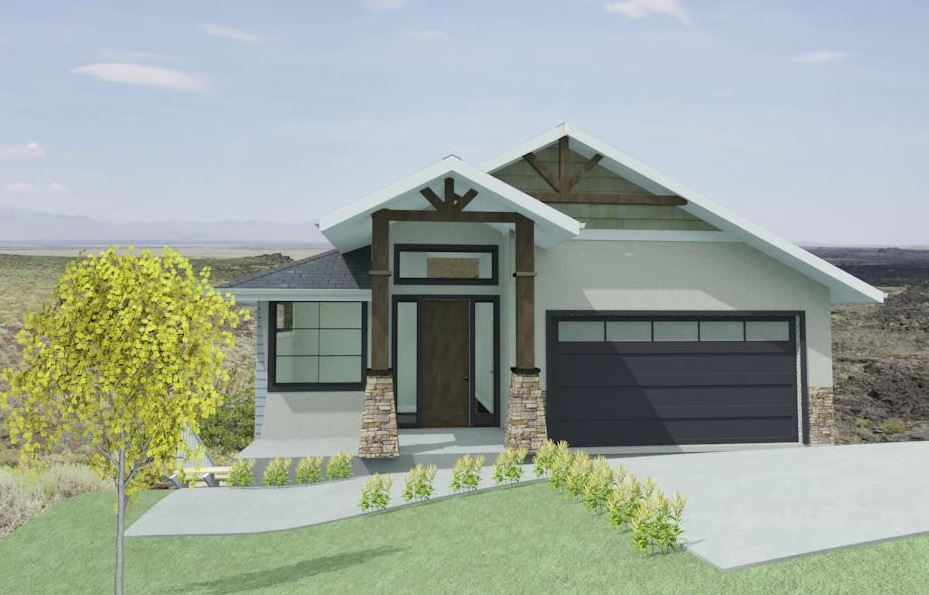 Custom craftsman home with large pillar entry