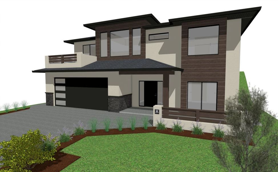 Two toned house with stucco and wood exterior