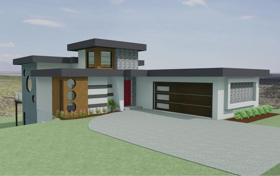 modern home with circular windows and red front door