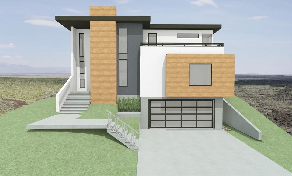 modern, grey and white home with stairs leading to front door