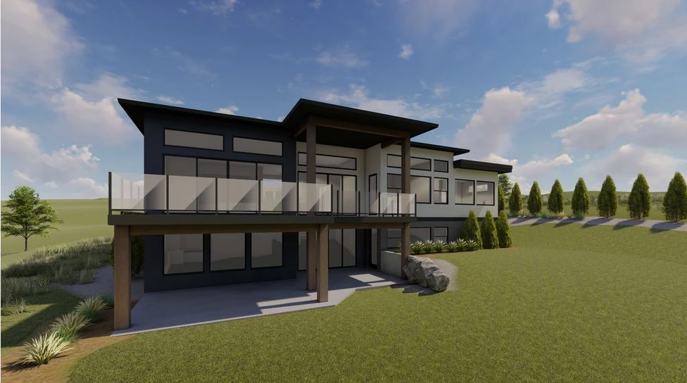 Rear render of modern home with large balcony overlooking backyard