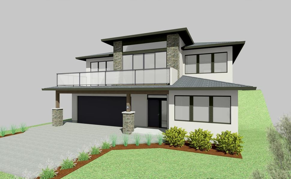 Large two story white house with balcony in above front door